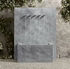 Weathered zinc wall fountain - Restoration Hardware: 40 inches wide; 51 inches high