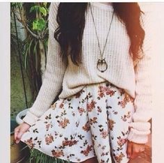 Floral skirt with sweater