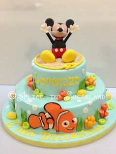 Mickey mouse and nemo cake