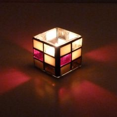 KIMBERLY Color Block Stained Glass Mosaic Candle Holder
