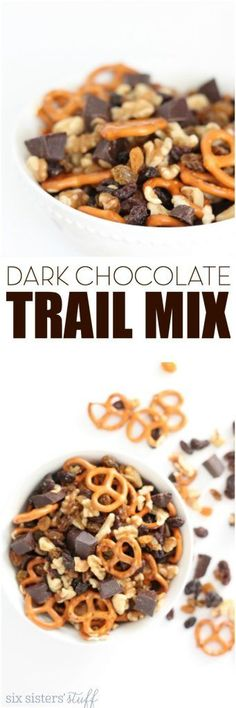 Dark Chocolate Trail Mix from SixSistersStuff.com   This super simple snack recipe is one the kids will love and one you won't feel bad about giving them!