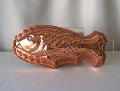 Vintage Copper Tone Fish Mould Kitchen Mold by CynthiasAttic