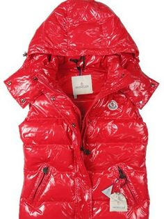 Moncler Down Vest Women with Hood in Red [2900172] - £133.59 :