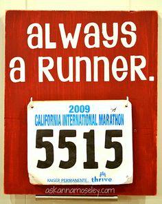 """Always a runner."" Vinyl art at Ask Anna"