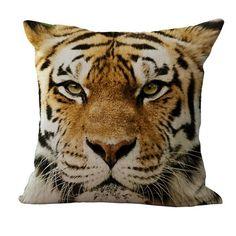 fashion home Cute 3D Tiger Animal Linen Home Car Decor Throw Pillow Case Cushion Cover Household