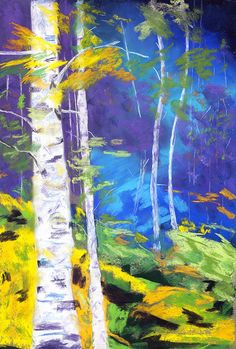 Mystery Behind the Birches - pastel by ©Diana Tripp (FineArtAmerica)