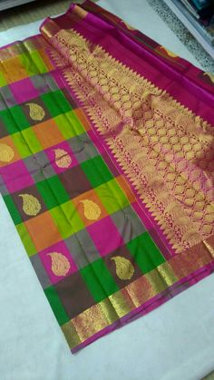 Kanchipuram pure silk sarees( hand woven)with multicolour cheked Order what's app 7093235052