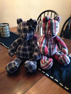 Memory bears I made from flannel shirts that a loved one wore before they passed