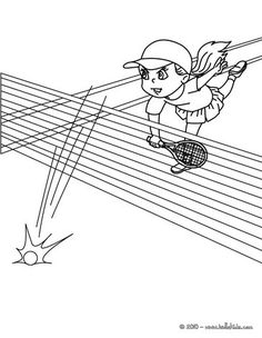 Tennis Woman Player Performing A Smash Coloring Page More Sports Pages On Hellokids