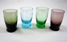Cordials Shot Glasses 4 Vintage Colored Glass Barware Etched Design Aperitif