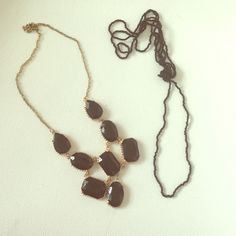 2 for 1 black necklaces One gold & black statement necklace and a black beaded necklace. The beaded one is super long - maybe even 2 feet long! You can double it up, tie it, wear it as a bracelet, etc. Jewelry Necklaces