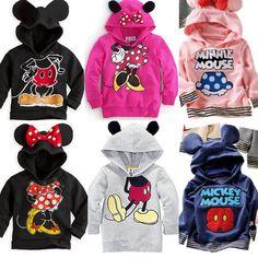 Retail Child Kids Baby Boys Girls Hoodies Long Sleeve Mickey Minnie mouse Bow Tail cartoon top t shirt Sweatshirts FreeShipping $9.00 - 11.90
