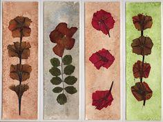 Entre mundos...: Puntos de libro con flores secas y acuarela