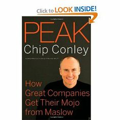 Peak – How Great Companies Get Their Mojo from Maslow, by Chip Conley, Tony Hseih (CEO of Zappos): This book uses Maslow's hierarchy of human needs and applies its principles as a way to increase employee, customer and stakeholder satisfaction.