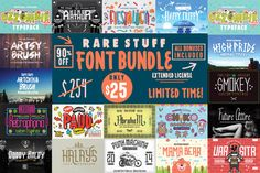 RARE STUFF FONT BUNDLE  90% Off by fopifopi on @creativemarket