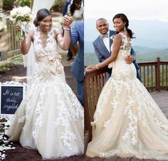 Africa Mermaid Lace Appliques Wedding Dresses Vintage Sheer Neck Ruffles Puffy…