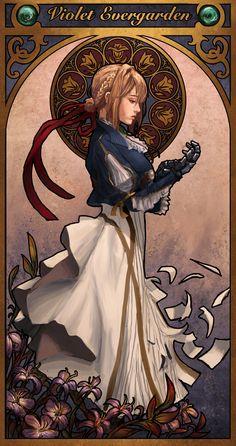 Violet Evergarden - Art Nouveau by Manga Anime, Anime Art, Violet Evergarden Wallpaper, Violet Evergreen, Violet Evergarden Anime, Bd Art, The Ancient Magus Bride, Howl's Moving Castle, Webtoon