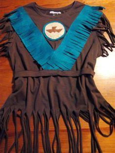 Disfraz de indio materiales: camiseta básica y fieltro