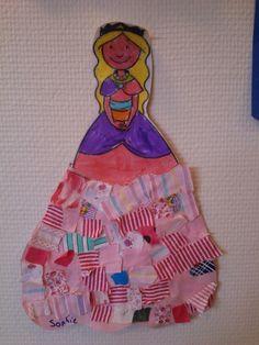 Mijn creatie van een prinses met stofjes jurk ;)