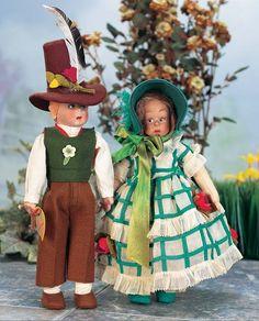 . Pair,Italian Cloth Tyrolean Boy and Girl by Lenci