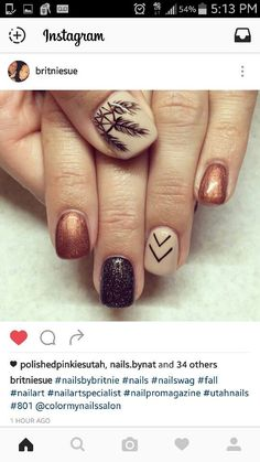 Feathers 22 Easy Fall Nail Designs For Short Nails