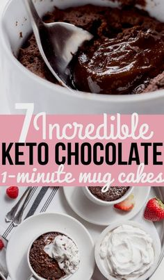 A chocolate and peanut butter flavored mug cake studded with chocolate chips. This mug cake is flourless, gluten free, low carb and keto friendly. Keto Friendly Desserts, Low Carb Desserts, Low Carb Recipes, Ketogenic Recipes, Induction Recipes, Healthy Recipes, Low Carb Cheesecake, Cheesecake Recipes, Dessert Recipes