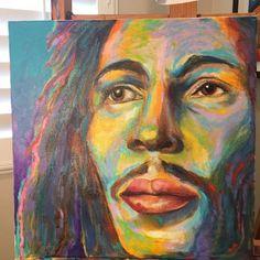 Bob is coming along! #bobmarley #onelove #simplyelizabethart #elizabethchaneypaintings #rastaman