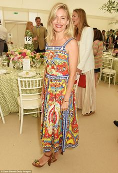 Sienna Miller rocks a pleated frock at The Cartier Queen's Cup Final | Daily Mail Online