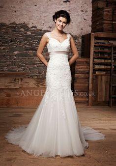 Fit N Flare Empire Tulle Straps Floor Length Sleeveless Wedding Dress