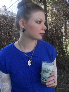 Vintage cobalt sweater/Lace SS12