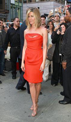 Jennifer Aniston Red Dress Beach Hair = Love the look
