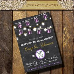 CHALKBOARD STRING LIGHT Couples Shower by GooseCornerGreetings