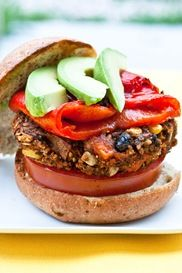 Sweet Tater and Black Bean Burger- so good! I topped it with avocado, roasted red pepper, sprouts, tomatoes, and the usual burger condiments. I had guests over for dinner and everyone went back for seconds!