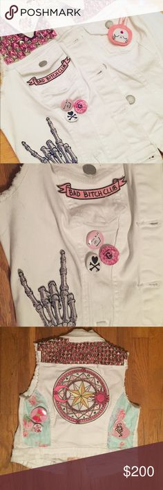 Magical Girl Punk Rock Vest hand studded punk vest for the magical girl in you. features patches and pins from sailor moon and cardcaptor sakura as well as pins and patches from l0lle and sugarbones. Jackets & Coats Vests