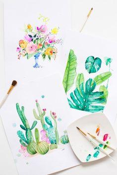 DIY Watercolor Printable Wall Art by top Houston lifestyle blogger Ashley Rose of Sugar & Cloth #watercolor #wallart #printables #plantlady #botanicalart