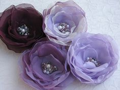Purple hair flowers,Plum hair flowers,Violet hair clips,Lavender hair clips,Violet headpieces,Lavender hair flower,Bridal violet flowers, on Etsy, $19.00