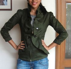Womens Ruffled Jacket Blazer with Fitted Princess Seams and High Collar in Hunter Green - Other colors available - JASMINE
