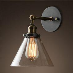 Industriale vintage lampada da parete ac90-retrò parete luce edison paralume in vetro loft coffee bar rustico riparo della parete apparecchio di illuminazione(China (Mainland))