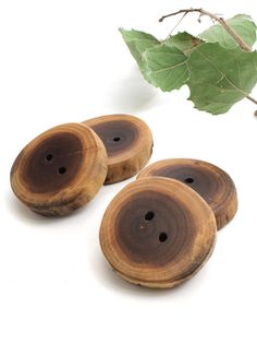 Rustic Natural Wood Buttons (Set of 4) - Made from Black Walnut Tree . Sustainable Wisconsin Wood. $5.95, via Etsy.