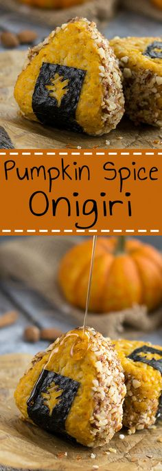 Pumpkin Spice Onigiri - Learn how to make pumpkin spice rice, which is combined with easy honey almonds for an unforgettable autumn rice ball experience. A must try for all pumpkin spice lovers! | loveatfirstbento.com [bento box, bento, fall]