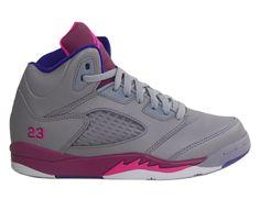 jordan shoes for girls purple and gray | Girls Nike Air Jordan Retro 5 V PS Cement Grey Pink Flash Purple ...