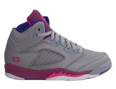 jordan shoes for girls purple and gray | Girls Nike Air Jordan Retro 5 V PS Cement Grey Pink Flash Purple ...