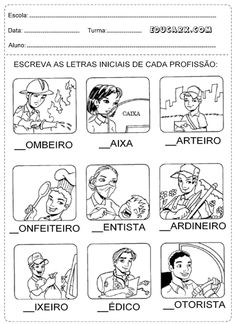 Educar X: Atividades de profissões Lany, Professor, Elementary Schools, Teaching, Education, Comics, Social Studies Activities, History Activities, Kids Activity Ideas