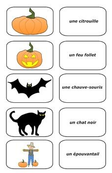 Free Halloween French Picture Cards (PDF) : 15 Halloween French Cards (PDF)Students can match the picture with the words. Great for concentration and vocabulary building. Free French Lessons, Free In French, French Teaching Resources, Teaching French, Teaching Ideas, How To Speak French, Learn French, Halloween En France, French Pictures