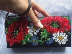 A small bag with poppies by BeadedJewelryVirunia on Etsy