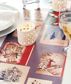 Old greeting cards as a table runner. I like this idea. I wonder if there is a better way to make this than making copies of the cards though...