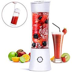 Portable Blender, Fityou Personal Glass Smoothie Fruit Mixer Juicer Cup,USB Rechargeable Multifunctional Travel Blender for Shakes and Smoothies,with Rechargeable Battery,FDA BPA Free Fruit Blender, Mini Blender, Portable Blender, Smoothie Mixer, Smoothie Fruit, Milk Shakes, Travel Blender, Fruit And Vegetable Juicer, Jam Maker