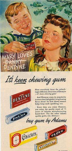 Gum by Adams. It's keen chewing gum. Pub Vintage, Photo Vintage, Vintage Signs, Retro Vintage, Vintage Food, Vintage Cooking, Retro Candy, Vintage Candy, Old Advertisements