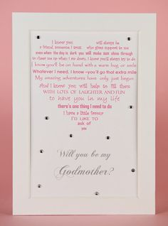 Cute way to ask godparents Pinteres