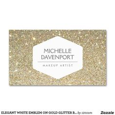 ELEGANT WHITE EMBLEM ON GOLD GLITTER BACKGROUND